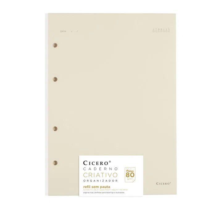 Refil Caderno Criativo Argolado 40FLS Polen 80g Sem Pauta 17x24 - Cícero