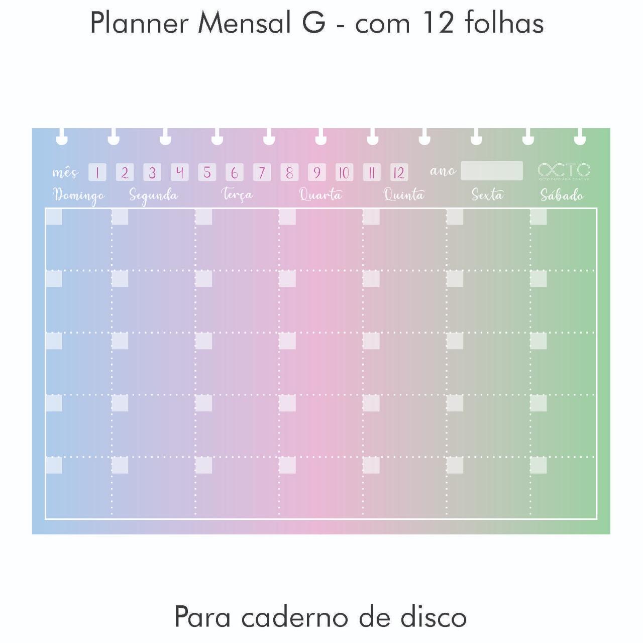 Refil Caderno de Disco Universitário - OCTO - Planner Mensal Colors
