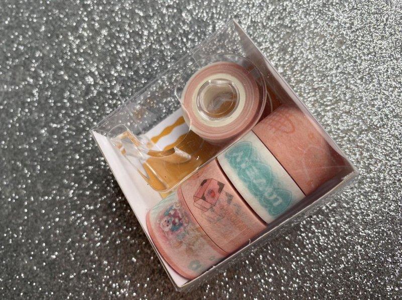Washi Tape BRW Mini Kit c/ 5 Rolos e Dispenser
