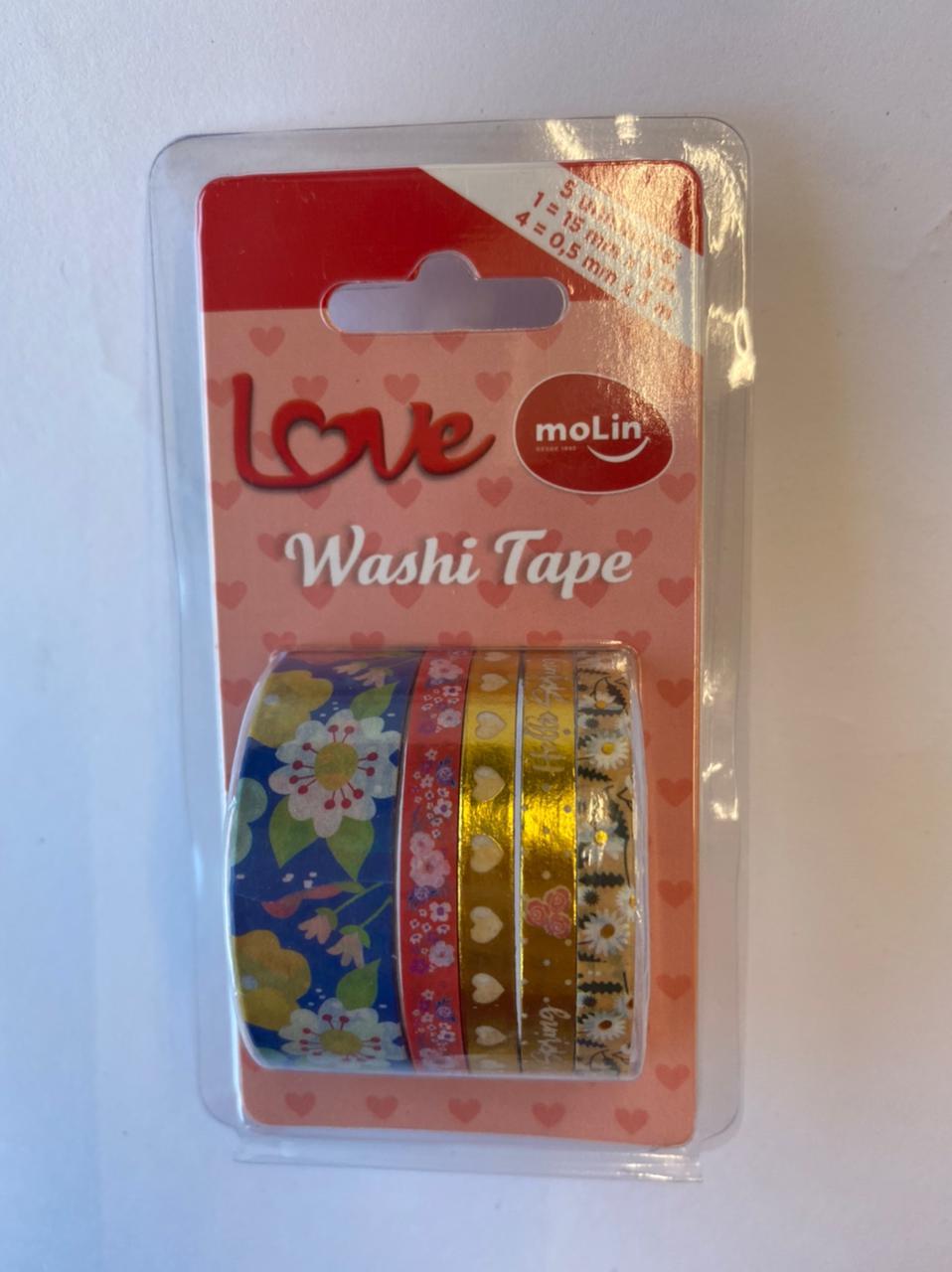 Washi Tape Slim - Molin Love - Azul