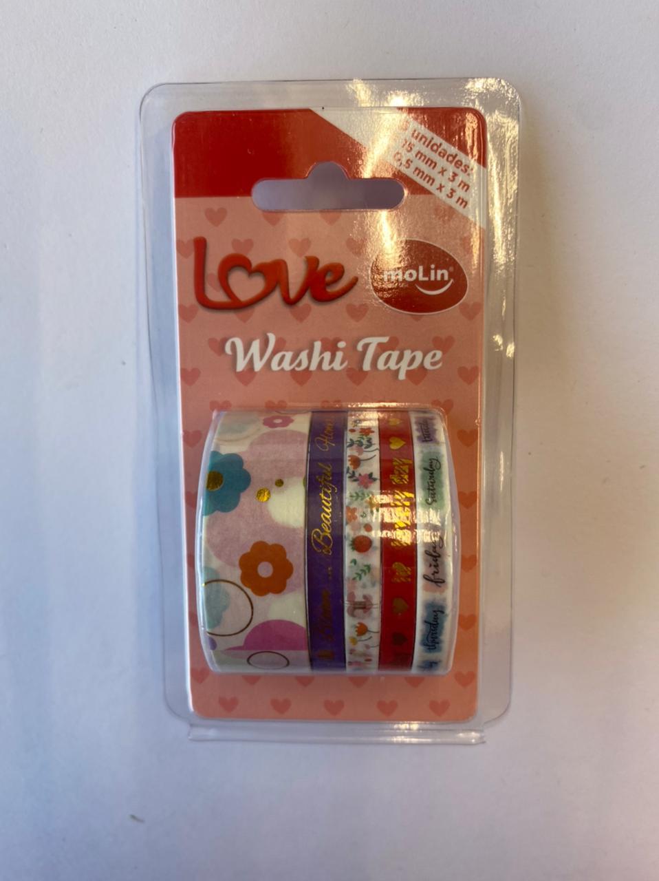 Washi Tape Slim - Molin Love - Lilás