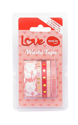Washi Tape Slim - Molin Love - Rosa