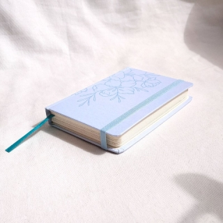 caderneta pocket flora blue