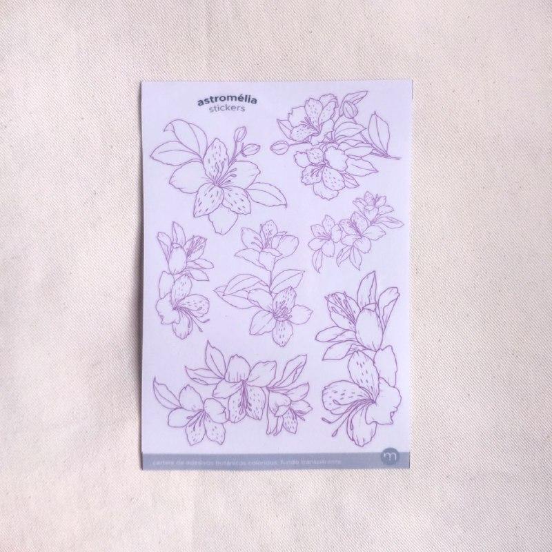 adesivos botânicos coloridos - 7 modelos