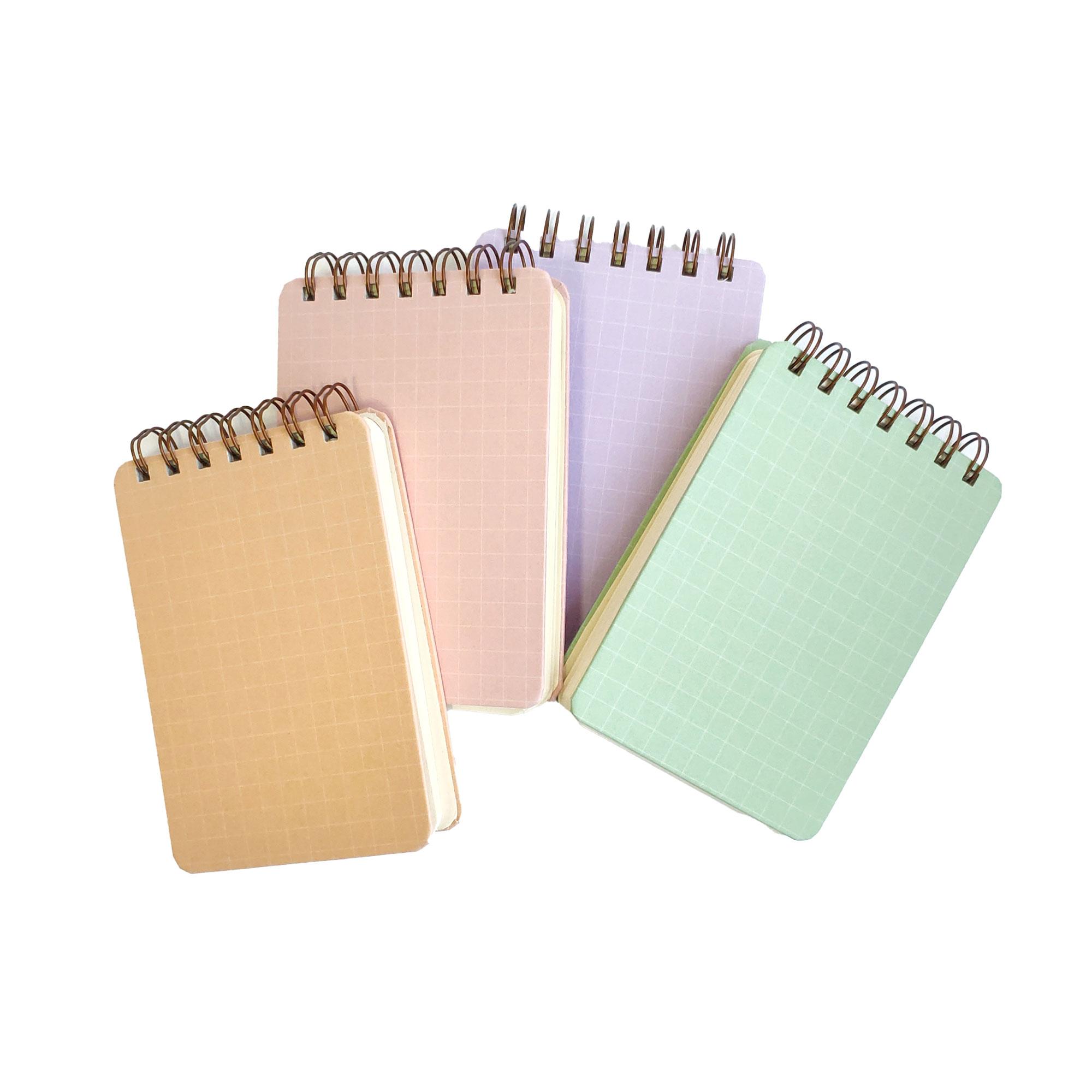 bloco de anotação A6 grid pastel