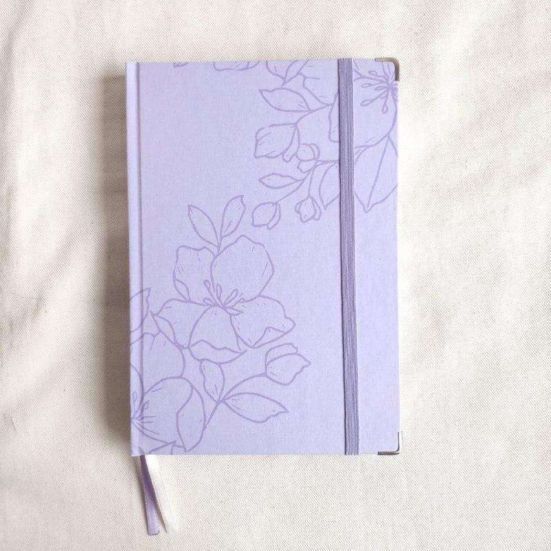 caderneta flora lilás papel 120g/m²