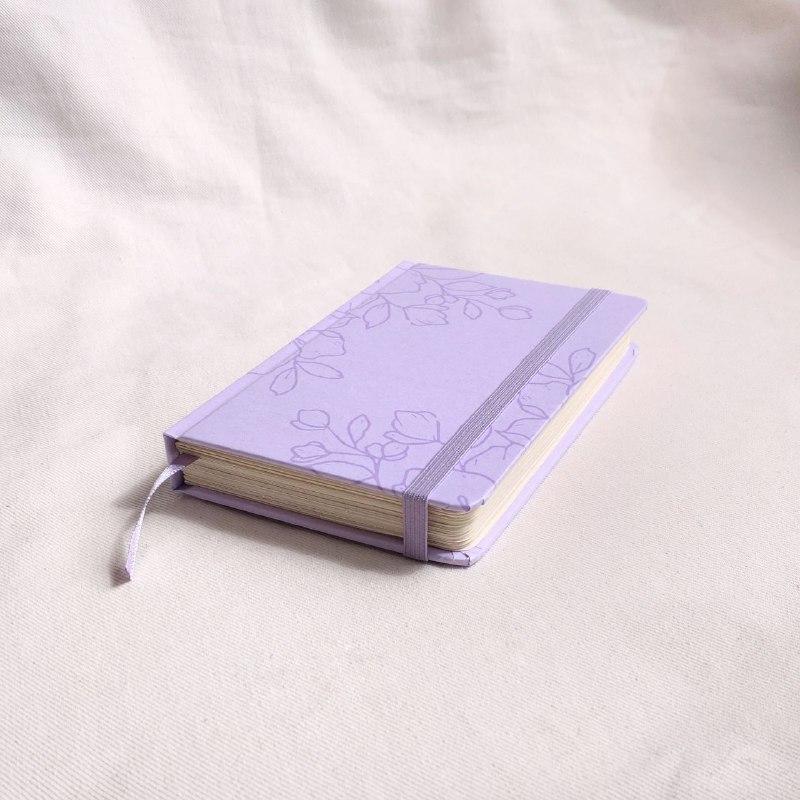 caderneta pocket flora lilac