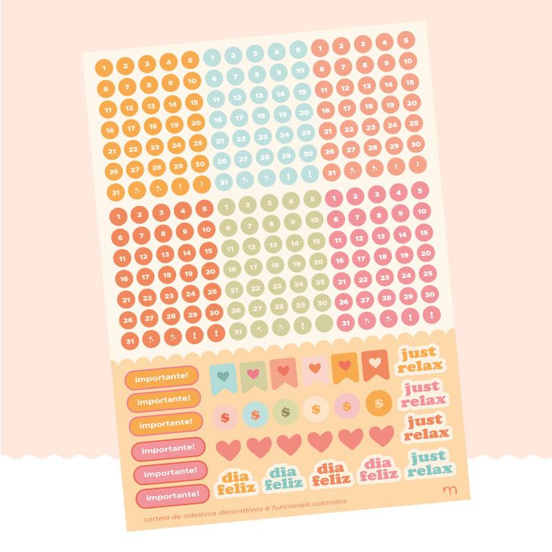 cartela de adesivos funcionais colorida