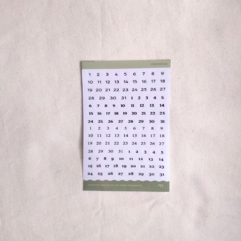 cartela de adesivos funcionais - números