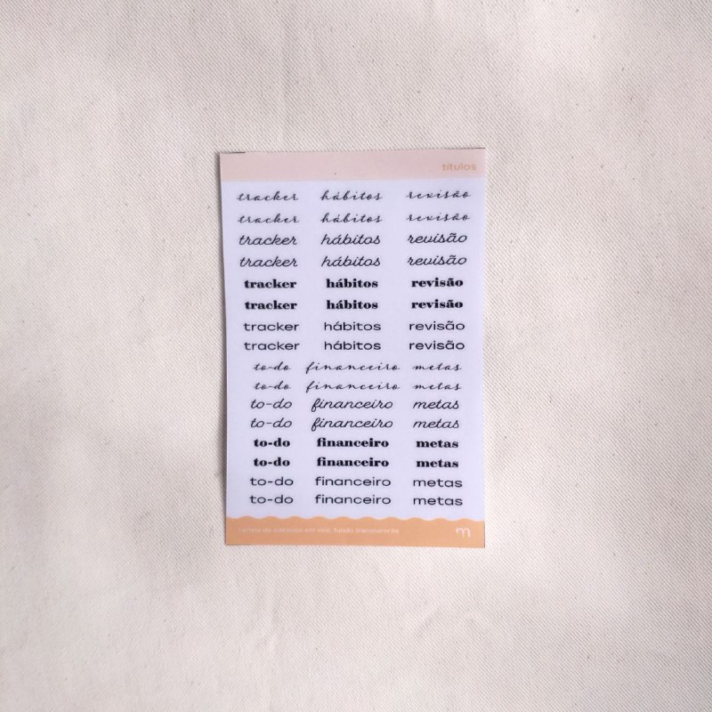 cartela de adesivos funcionais - títulos