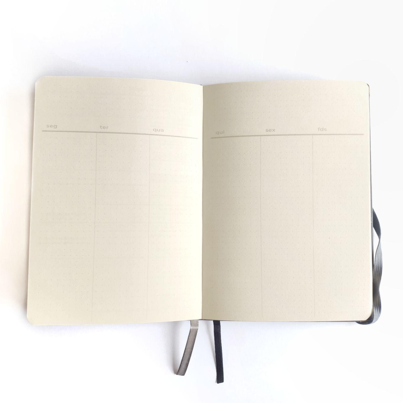 wabi sabi - planner permanente lombada florida cinza, visão semanal na vertical