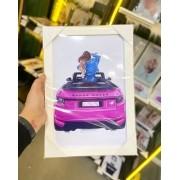 Quadro Menina carro Pink Moldura Branca