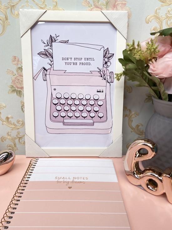 Quadro Máquina de Escrever Moldura Branca