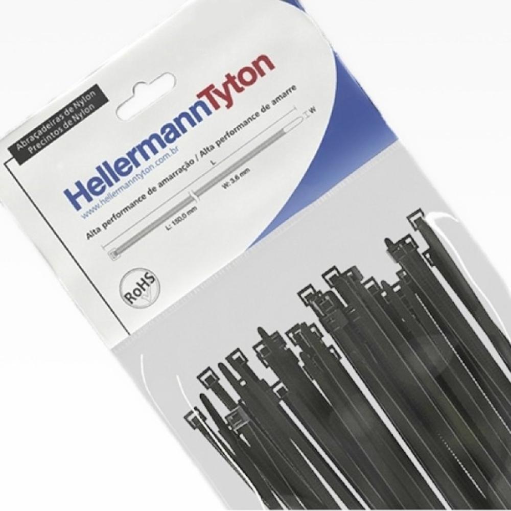 Abraçadeira de Nylon Hellermann Tyton T50R 200mm X 4,6mm - 100 unidades  - Casa do Roadie