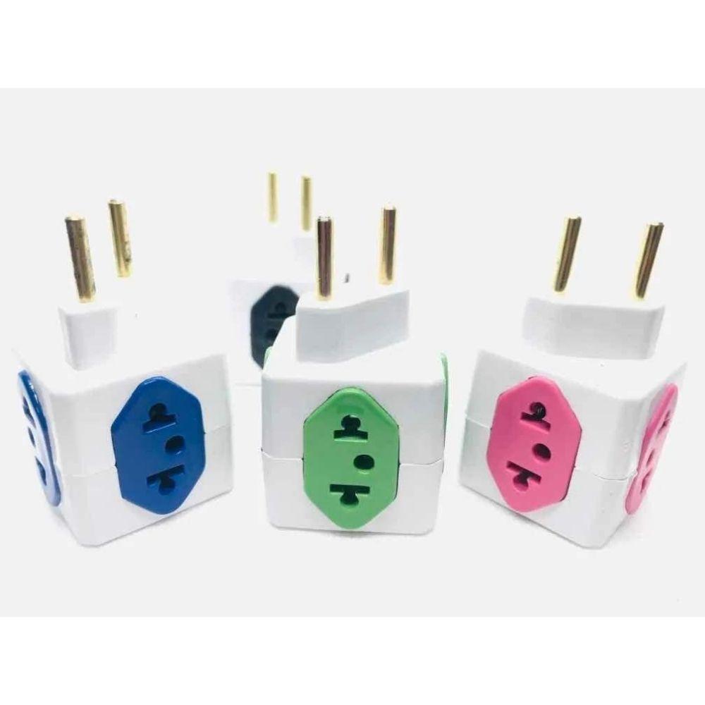 Adaptador de tomada 2p para 4 saídas tipo cubo