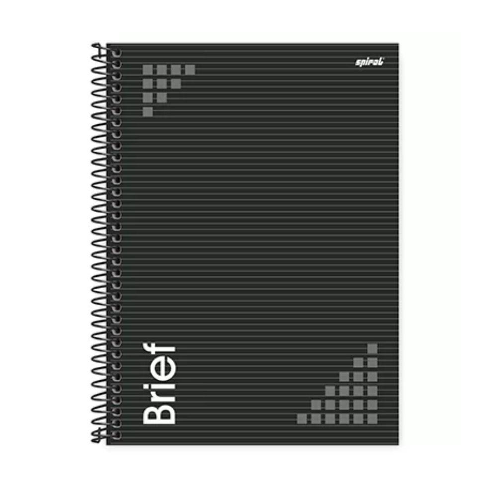 Caderno Espiral Capa Dura Preta Universitário 1x1 80 Folhas