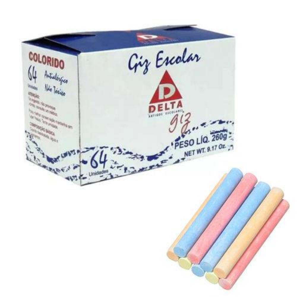Caixa de Giz Delta Colorido - 50 Unidades