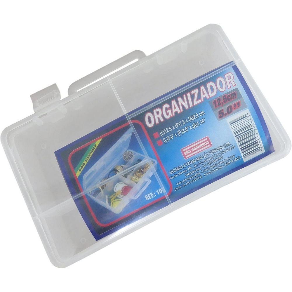 Caixa Organizadora Plástica com divisória 12,5cm X 7,5cm X 2,9cm São Bernardo  - Casa do Roadie