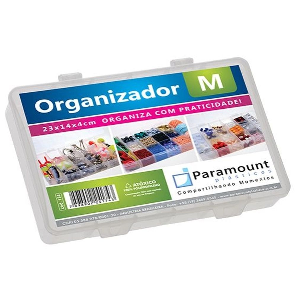 Caixa Organizadora Plástica Paramount M 23cm X 14cm X 4cm