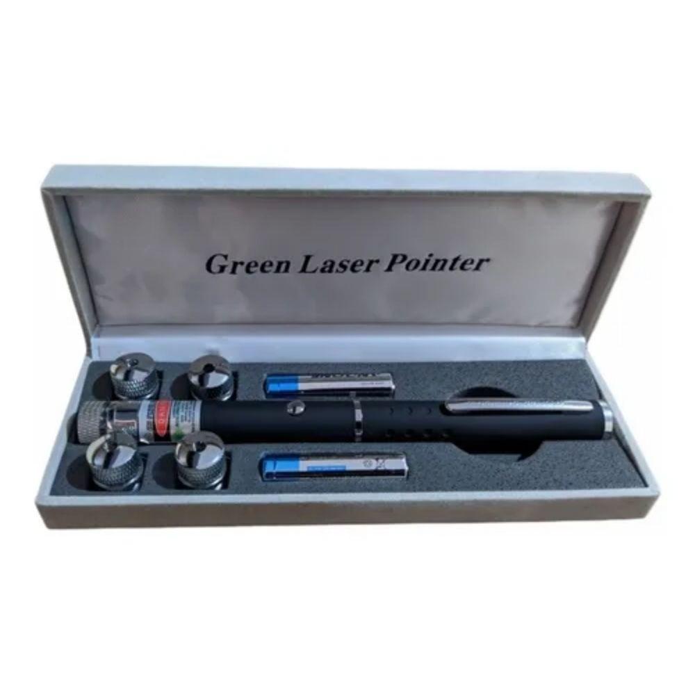 Caneta Laser Pointer Verde 5 Pontas com Estojo - Preta