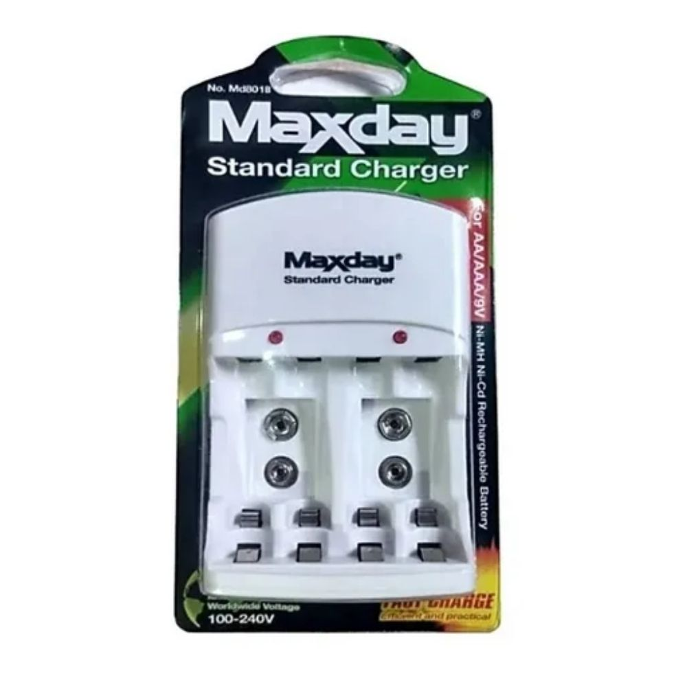 Carregador de Pilhas e Baterias Bivolt Maxday  - Casa do Roadie