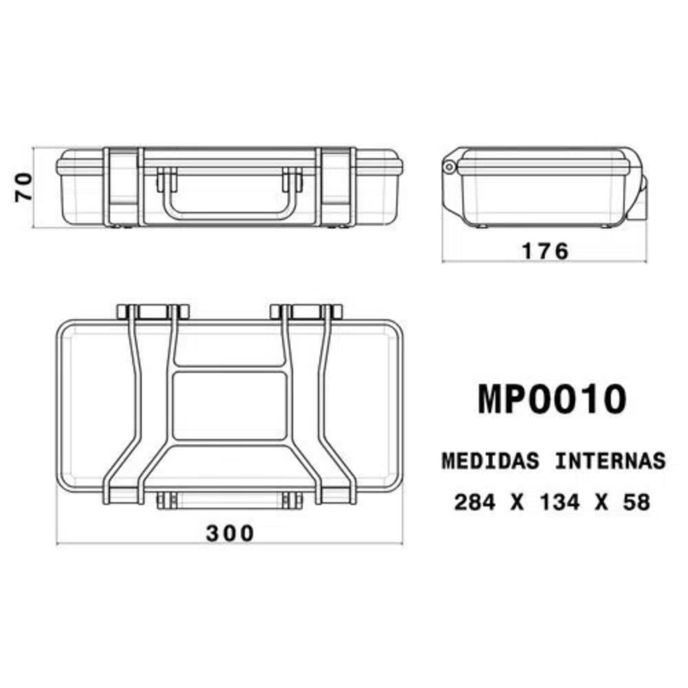 Case rígido Patola MP-0010 Preta  - Casa do Roadie