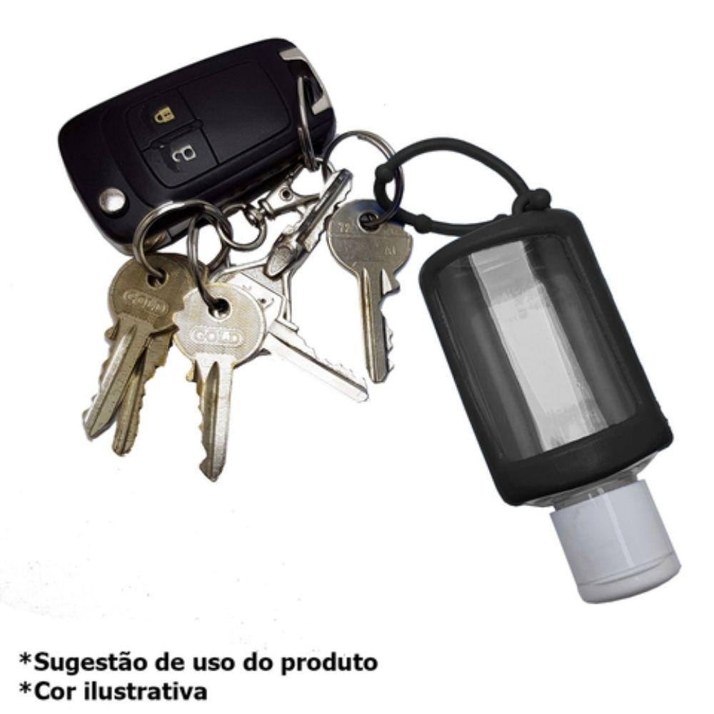 Chaveiro porta álcool gel 30ml preto  - Casa do Roadie