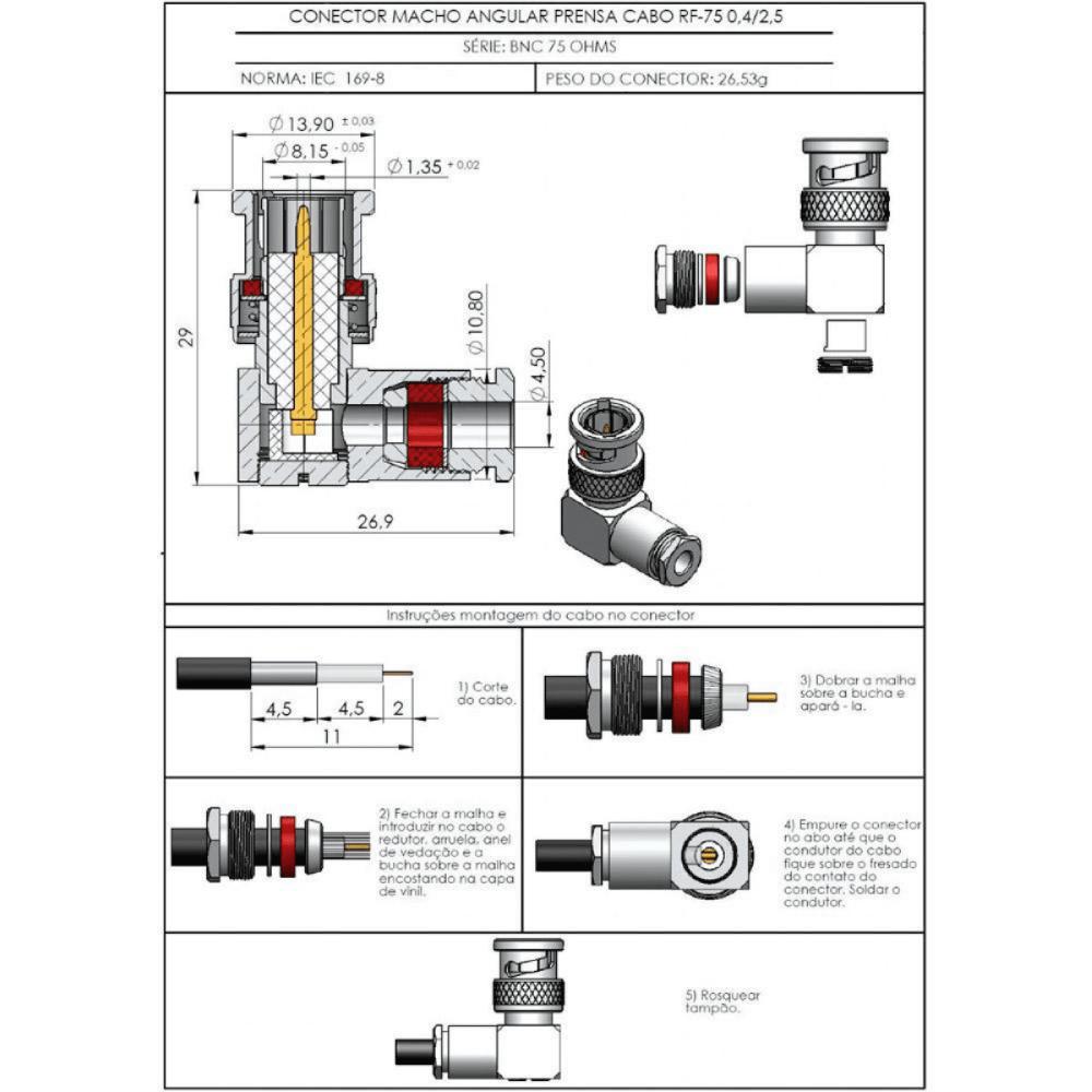 Conector BNC-L Angular 90º Macho  - Casa do Roadie
