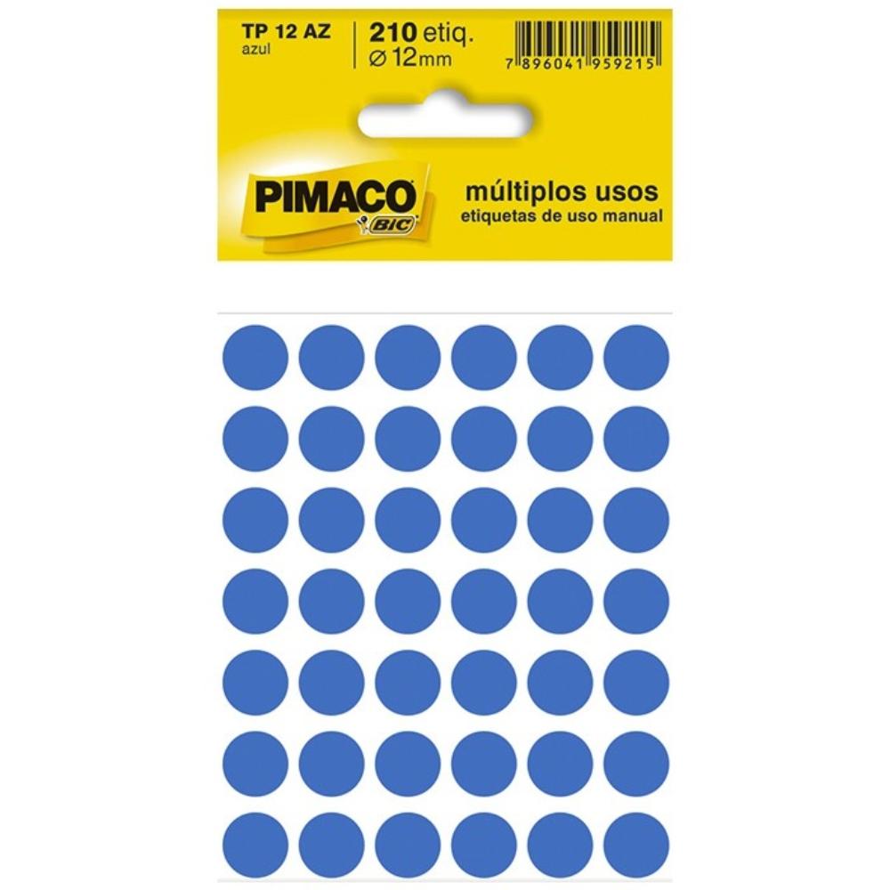 Etiqueta Adesiva Pimaco TP12 12mm Azul com 210 Unidades