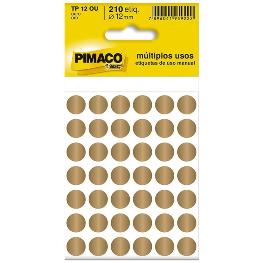 Etiqueta Adesiva Pimaco TP12 12mm Dourada com 210 Unidades