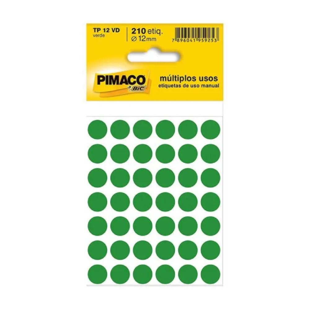 Etiqueta Adesiva Pimaco TP12 12mm Verde com 210 Unidades  - Casa do Roadie