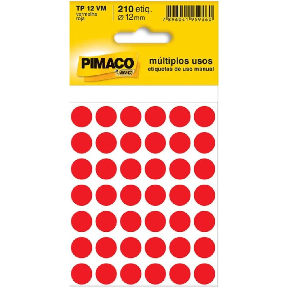 Etiqueta Adesiva Pimaco TP12 12mm Vermelha com 210 Unidades  - Casa do Roadie