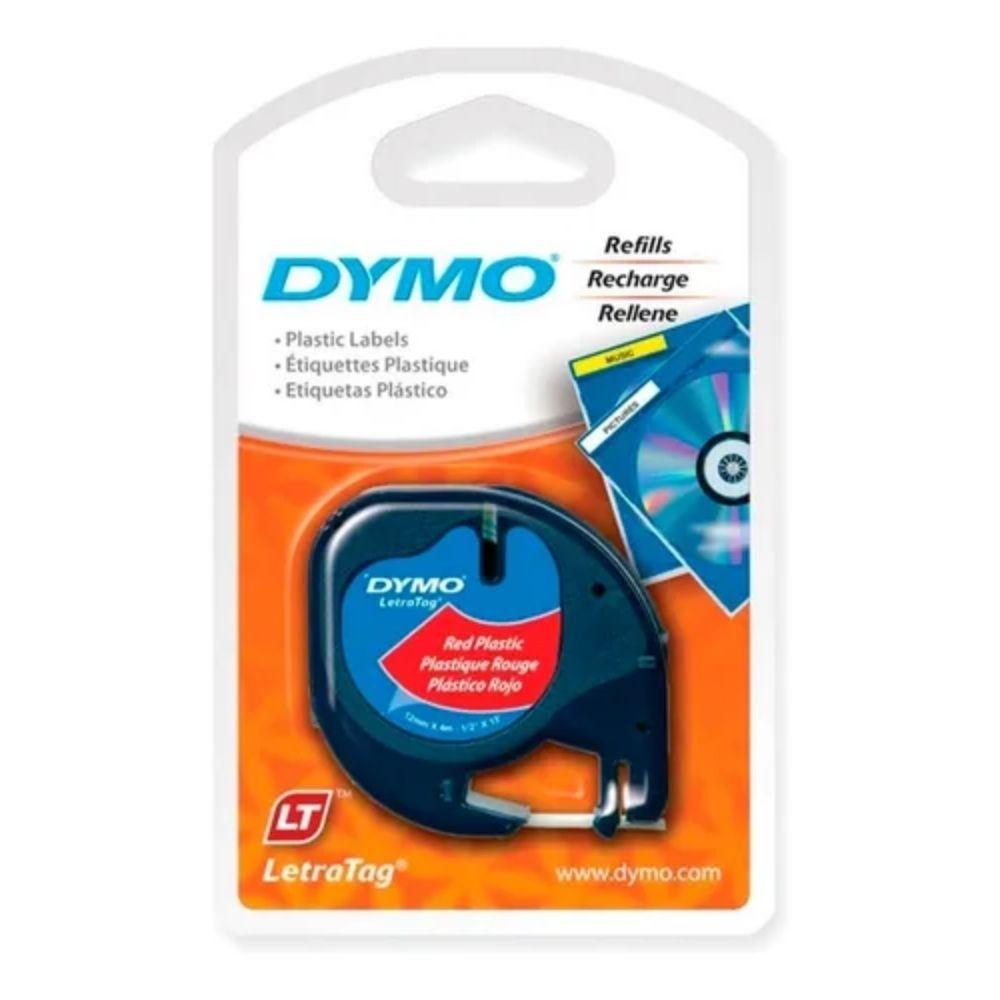 Fita de Papel para Rotulador Letratag Dymo 12mm X 4m Vermelho  - Casa do Roadie