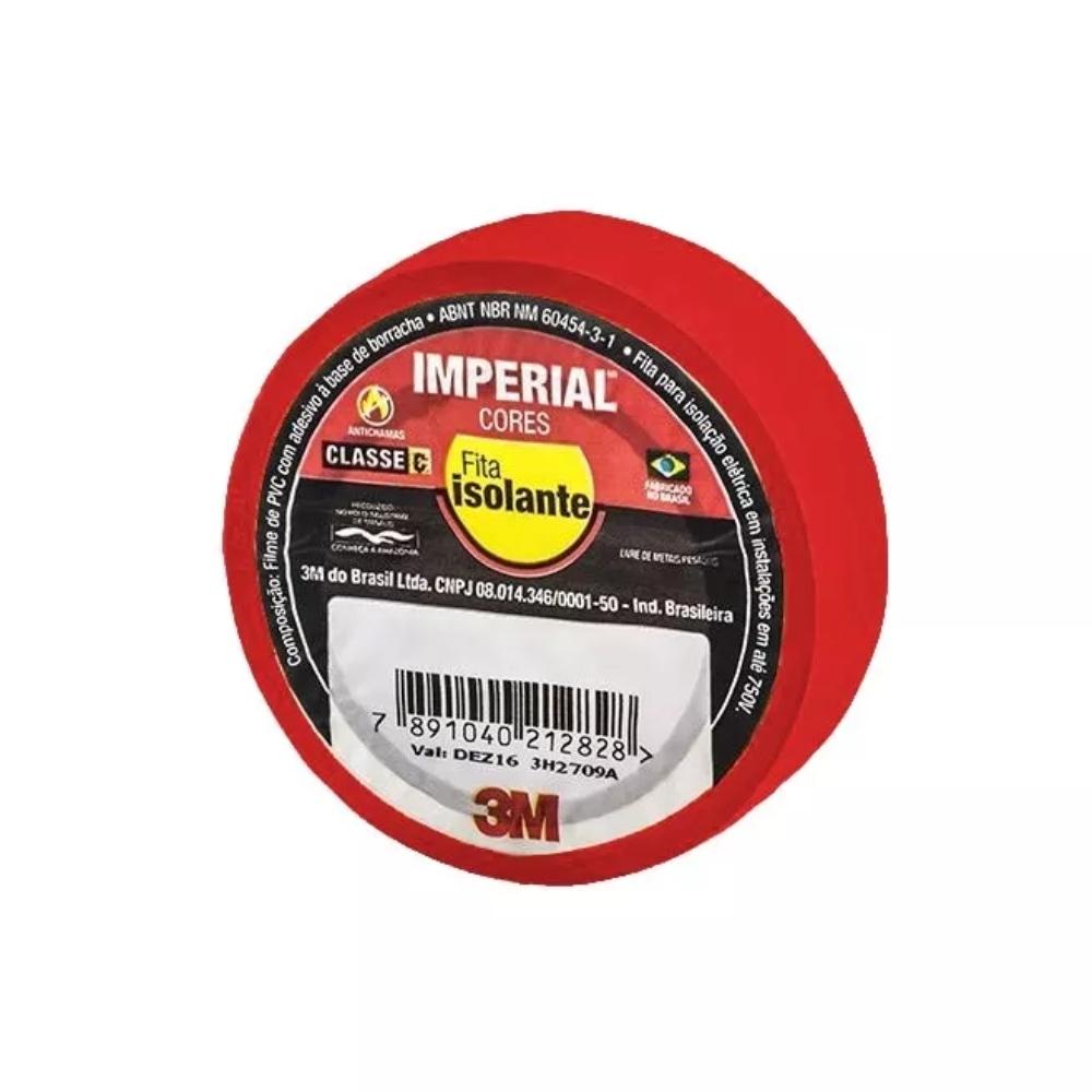 Fita de PVC Isolante Imperial 3M 18mm X 10m Vermelha  - Casa do Roadie