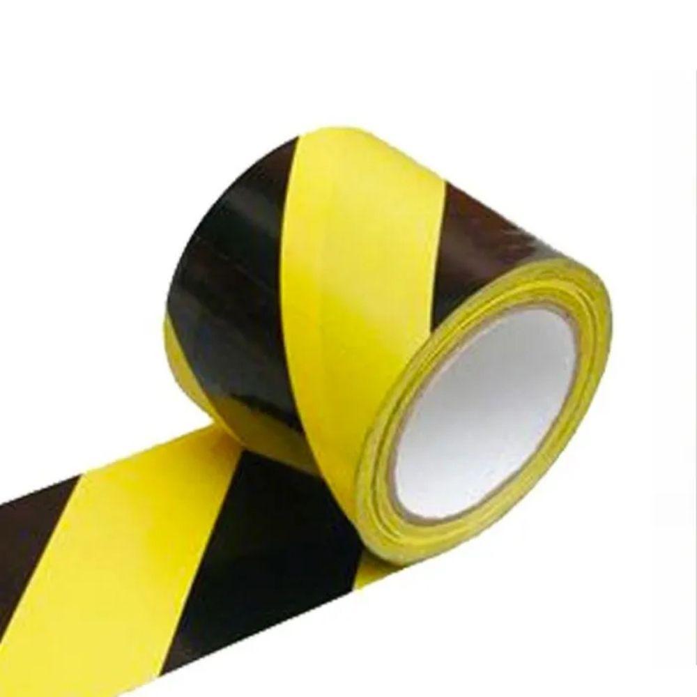 Fita de PVC para Demarcação de Solo Zebrada Adere 50mm X 30m Amarela e Preta  - Casa do Roadie