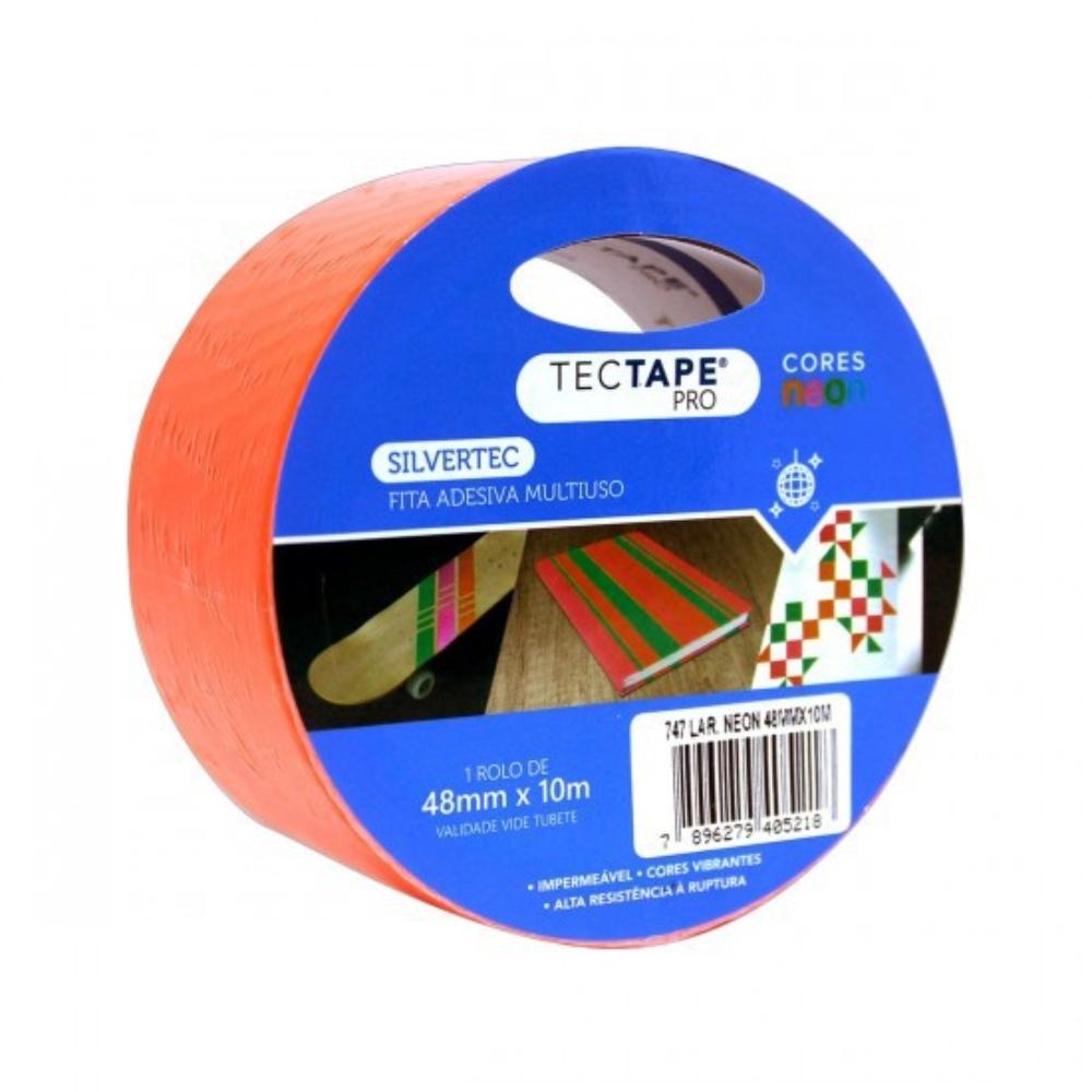 Fita de PVC Silver Tape Multiuso Tectape 48mm X 10m Laranja Neon