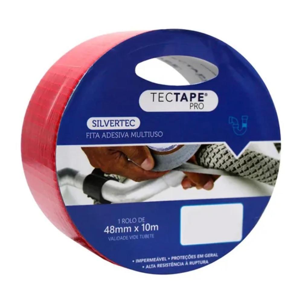 Fita de PVC Silver Tape Multiuso Tectape 48mm X 10m Vermelha  - Casa do Roadie