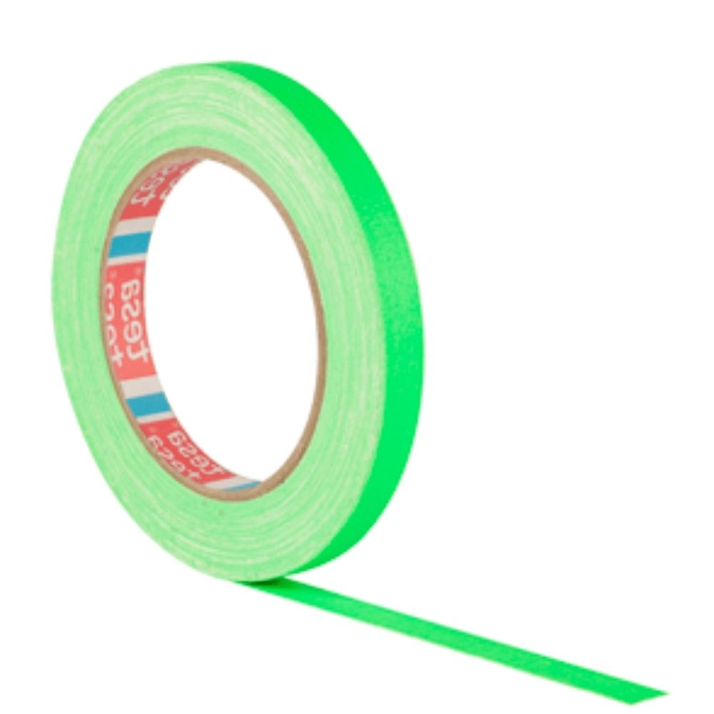 Fita de Tecido Gaffer Tape Tesa 12mm X 25m Verde Fluorescente  - Casa do Roadie