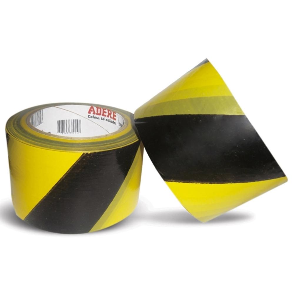 Fita Plástica para Demarcação de Área Zebrada Adere 69mm X 200m Amarela e Preta  - Casa do Roadie