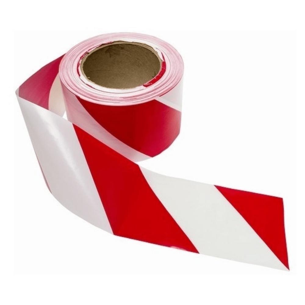 Fita Plástica para Demarcação de Área Zebrada THR 65mm X 160m Vermelha e Branca