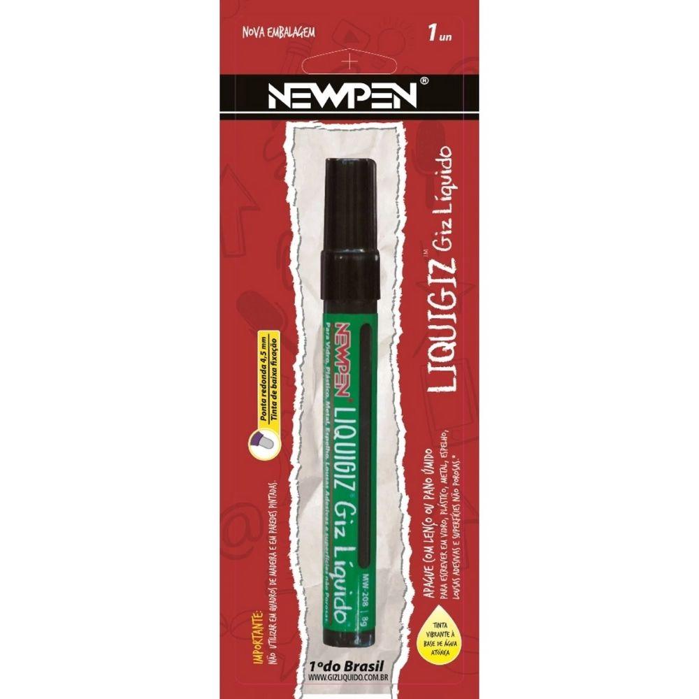 Giz Líquido Redondo 4,5mm Preto Newpen - Blister