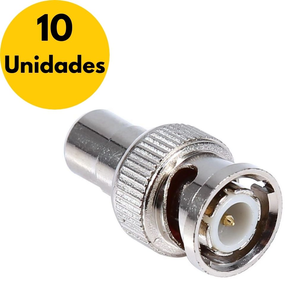 Kit Adaptador BNC Macho X RCA Fêmea - 10 Unidades  - Casa do Roadie