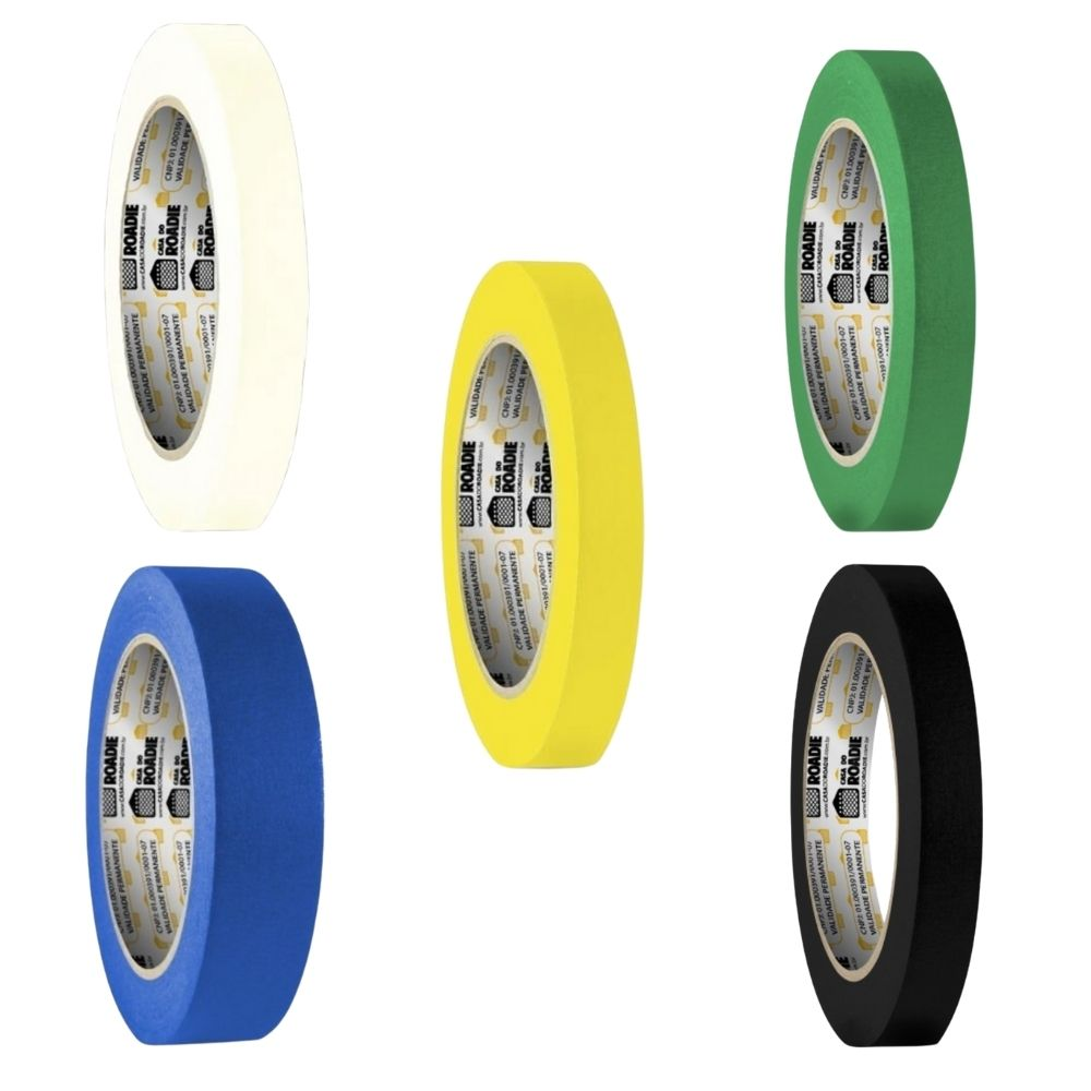 Kit Fita de Papel Crepe Colorida Casa do Roadie 18mm - 5 cores