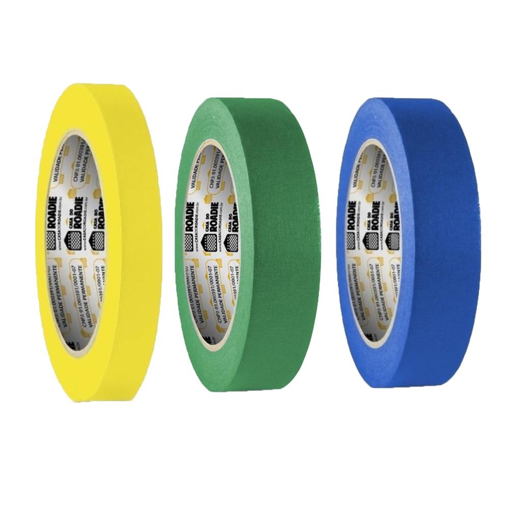 Kit Fita de Papel Crepe Colorida Casa do Roadie 18mm X 50m - 3 Cores