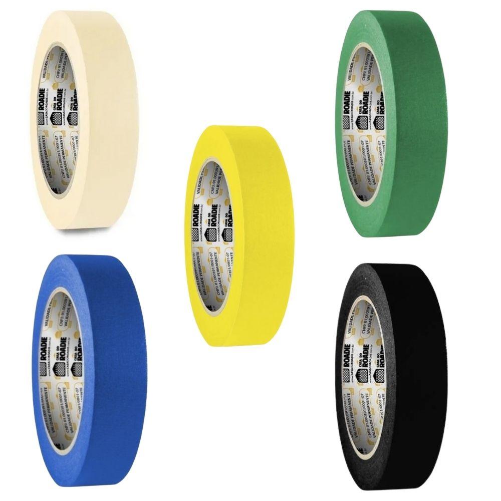 Kit Fita de Papel Crepe Colorida Casa do Roadie 24mm - 5 cores