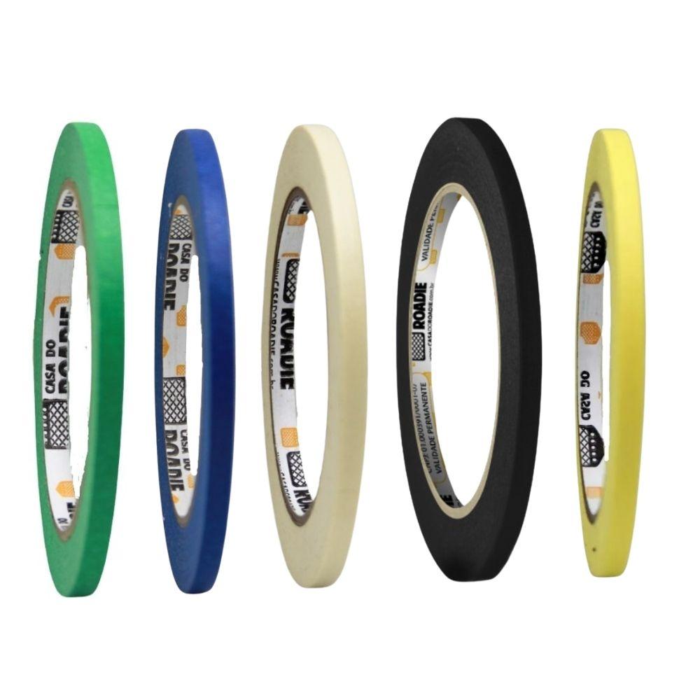 Kit Fita de Papel Crepe Colorida Casa do Roadie 6mm - 5 cores