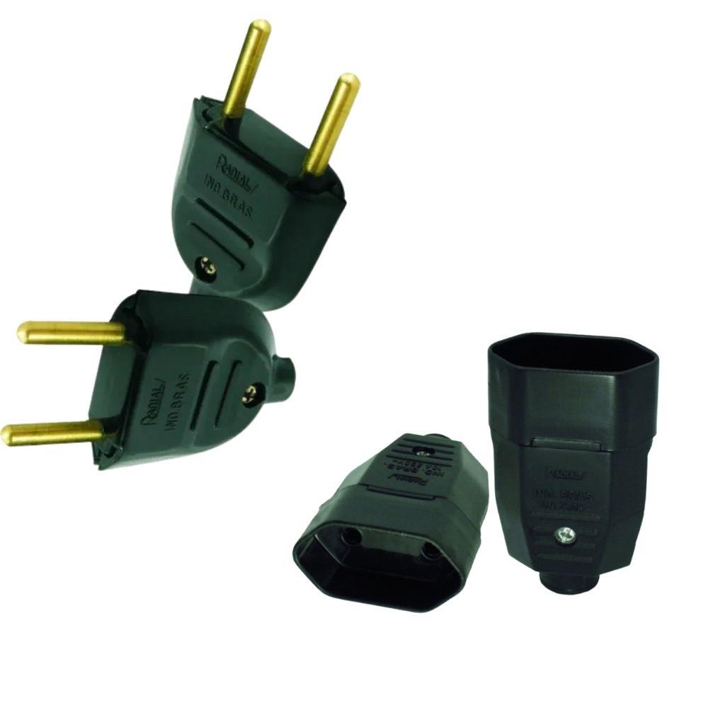 Kit Plug de tomada Fêmea + Macho 10A 2Pinos Radial Preto