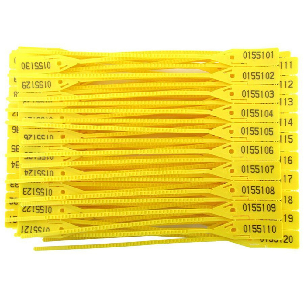 Lacre de Nylon Numerado Amarelo 16cm com 100 Unidades