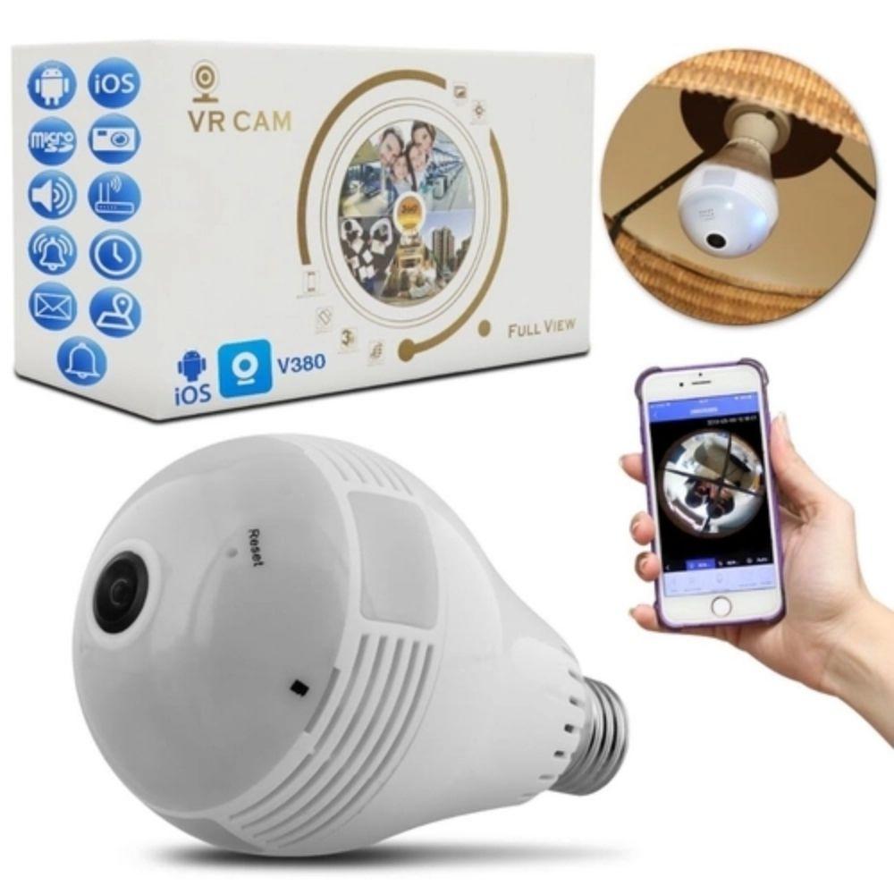 Lâmpada Espiã com Câmera IP Led Wifi Hd Panorâmica  - Casa do Roadie