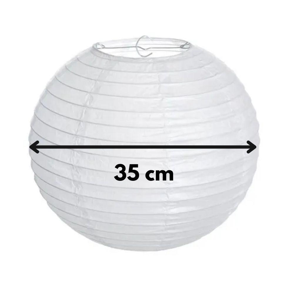 Luminária Oriental de Papel 35cm Branca  - Casa do Roadie